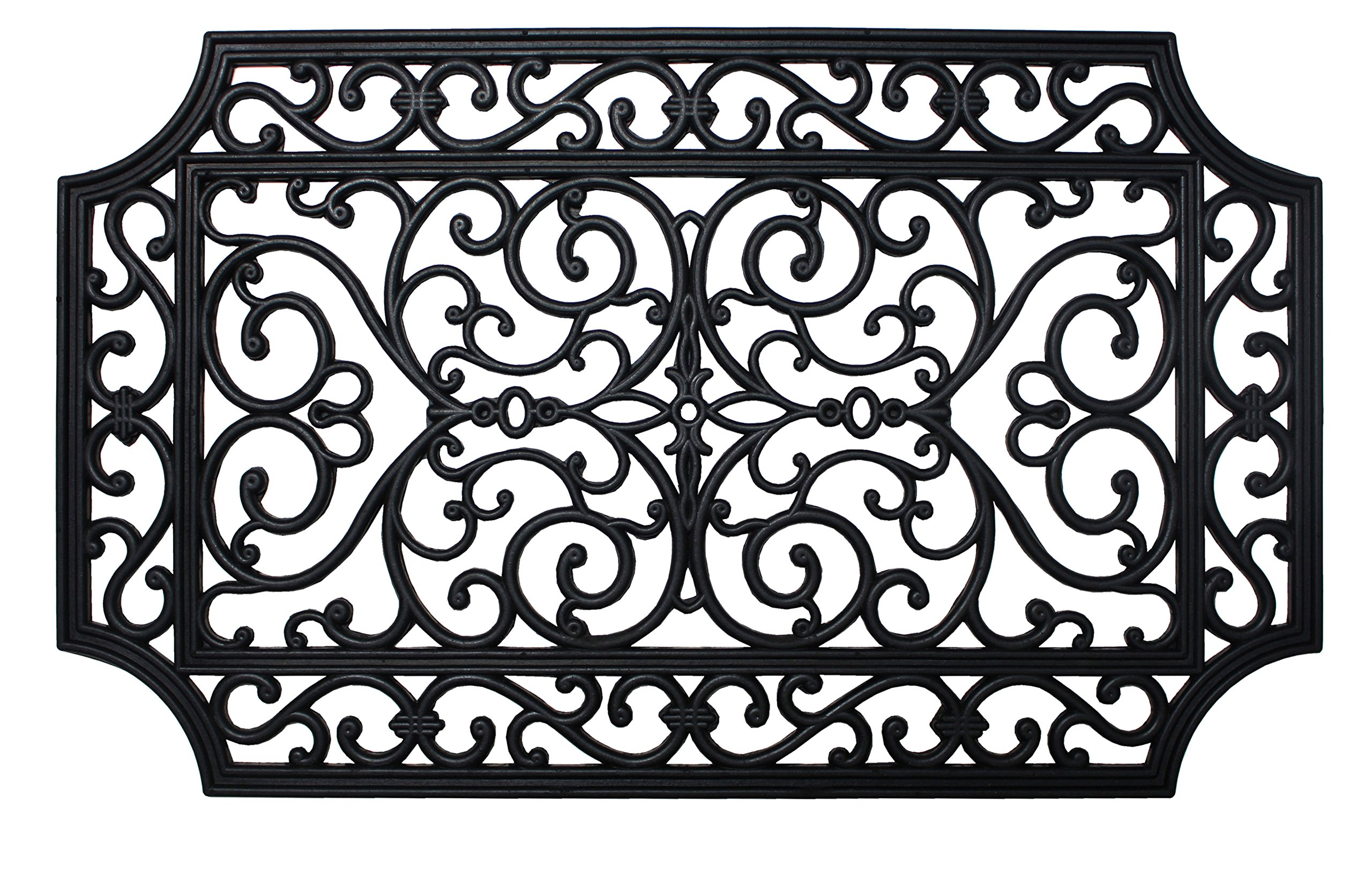J&M Home Fashions Heavy Duty Natural Rubber Outdoor Doormat, 18x30, Entry Way Shoes Scraper Patio Rug Dirt Debris Mud Trapper Waterproof-French Quarter by J&M Home Fashions