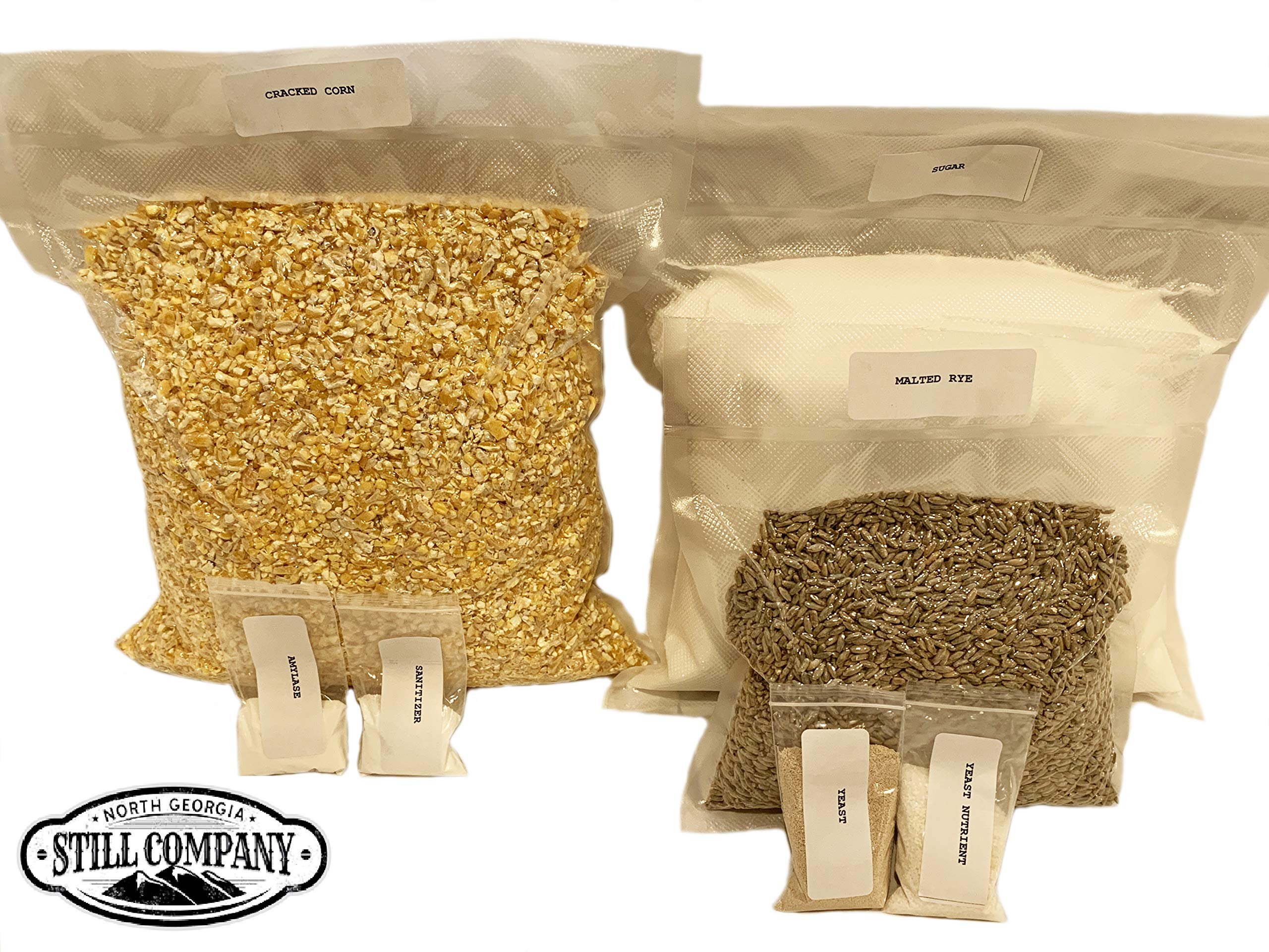 Complete Cracked Corn, Malted Rye Whiskey Mash & Fermentation Kit by North Georgia Still Company