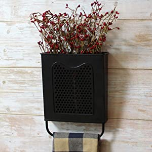CVHOMEDECO. Primitives Vintage Galvanized Tin Wall Box Metal Wall Hanging Flower Holder with Towel Bar, Wall Pocket Organizer for Home Decor.
