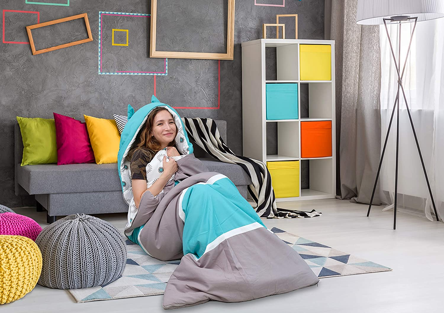 Chic Home Hayes Sleeping Bag with Cat Ear Hood Two Tone Design with Geometric Pattern Print Interior for KidsTeens & Young Adults Zipper Closure, Twin X-Long, Grey/Aqua