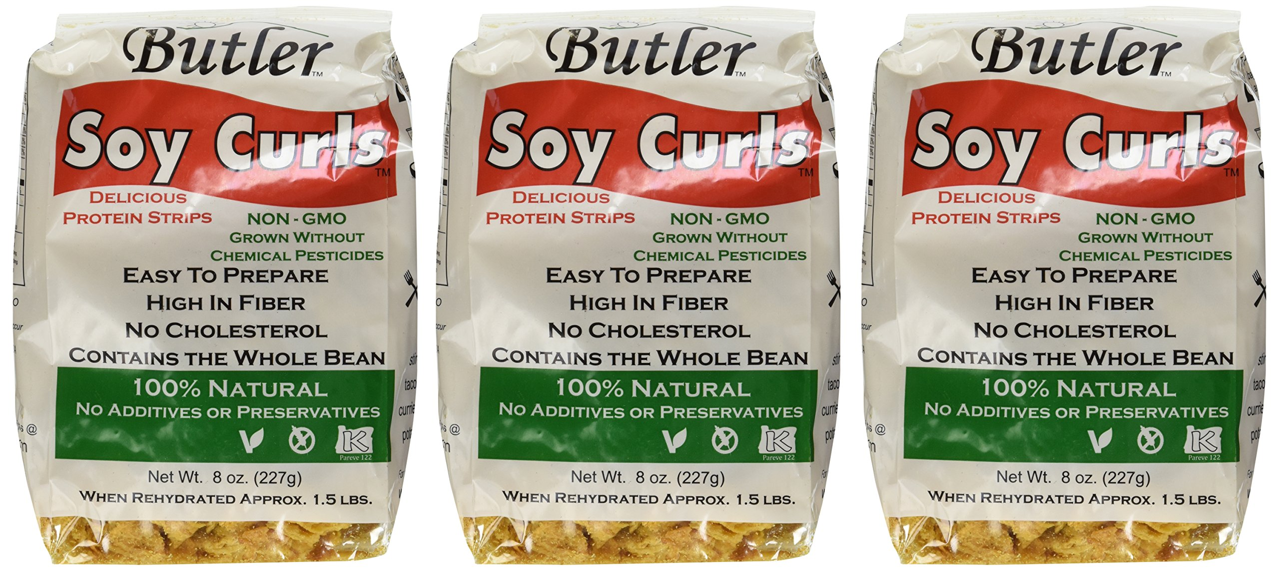 Butler Soy Curls, 8 oz. Bags (Pack of 3) by Butler Foods