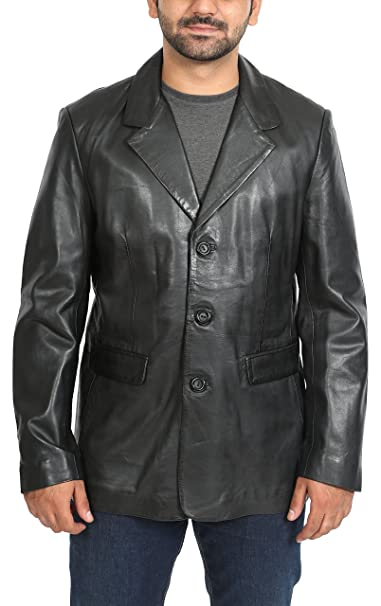 Mens Leather Classic Blazer Suit Jacket Three Button Notched ...