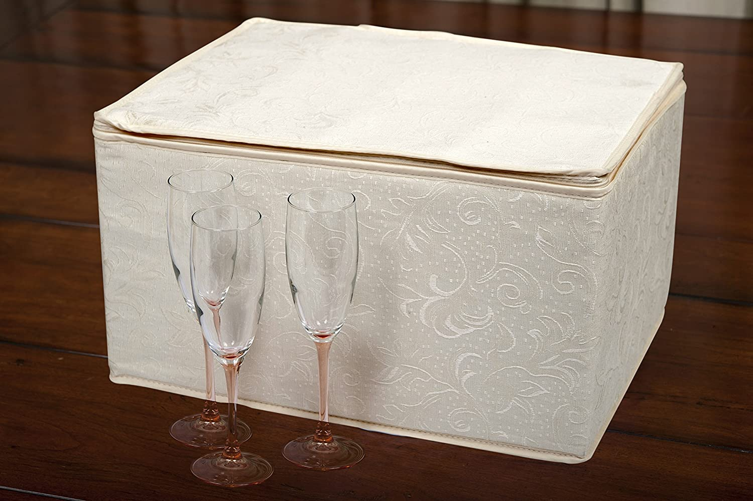 Marathon Housewares KW030009 Quilted Damask Stemware Storage Case, Holds 12 Wine Glasses or 24 Champagne Flutes, 8.5-Inches