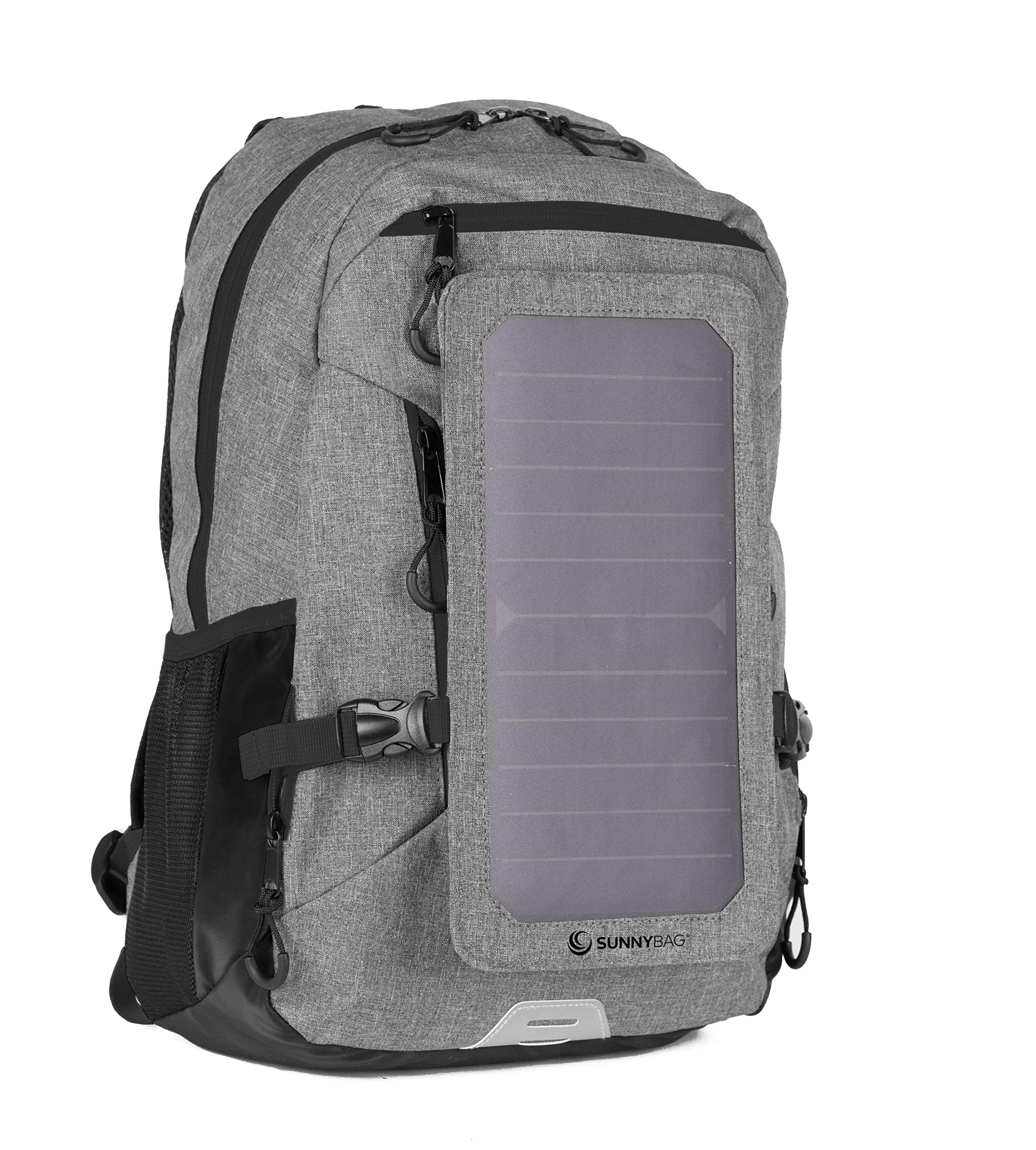 Backpack with Solar-Panel by SUNNYBAG Explorer+   solarbag Solar Charger   World's Strongest solarpanel for Smartphone Charging on The go   Grey/Black