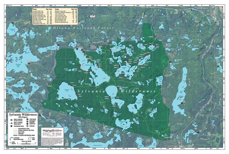 Sylvania Wilderness Map Amazon.com: Sylvania Wilderness Area   41.25