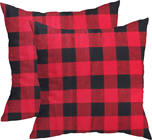 BELLE VOUS Funda Cojines (Pack de 2) - Fundas Cojin (45 x 45 cm de Alto) Diseño a Cuadros Rojo y Negro Funda Almohadas Set para Fiestas, Sofá, Cama Decoración: Amazon.es: Hogar