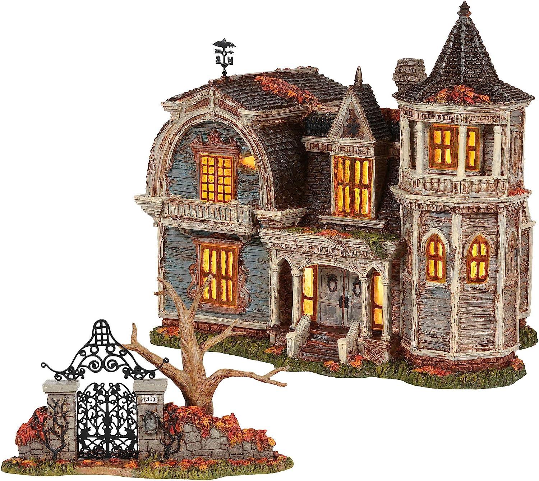 Department 56 The Munsters Village 1313 Mockingbird Lane Lit Building and Gate Figurine Set, 8.66 Inch, Multicolor