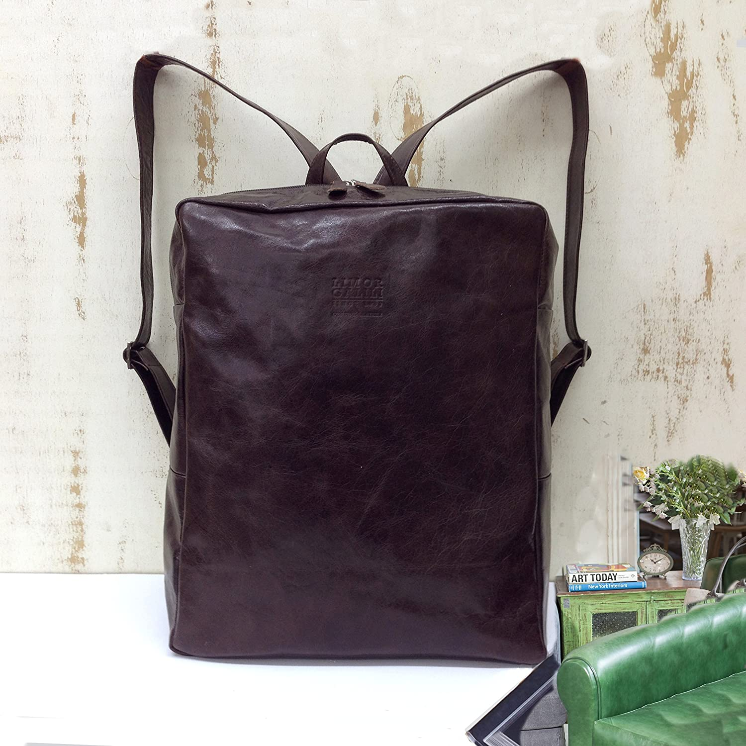 1d34777f77 Amazon.com  Shiny brown travel work leather bag with front pocket casual  everyday 15 15.6in laptop backpack  Handmade