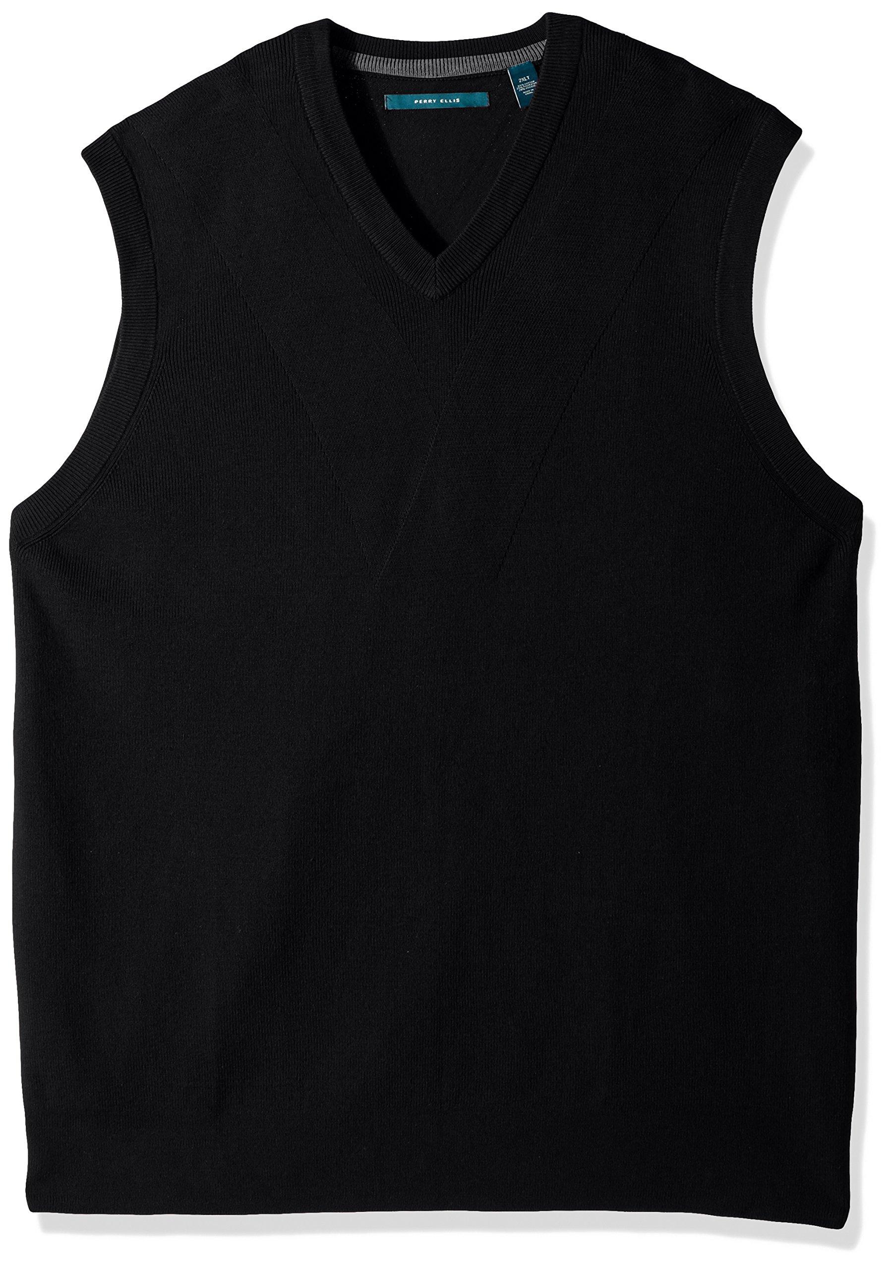 Perry Ellis Men's Pullover V-Neck Sweater Vest, Black Heather, Small