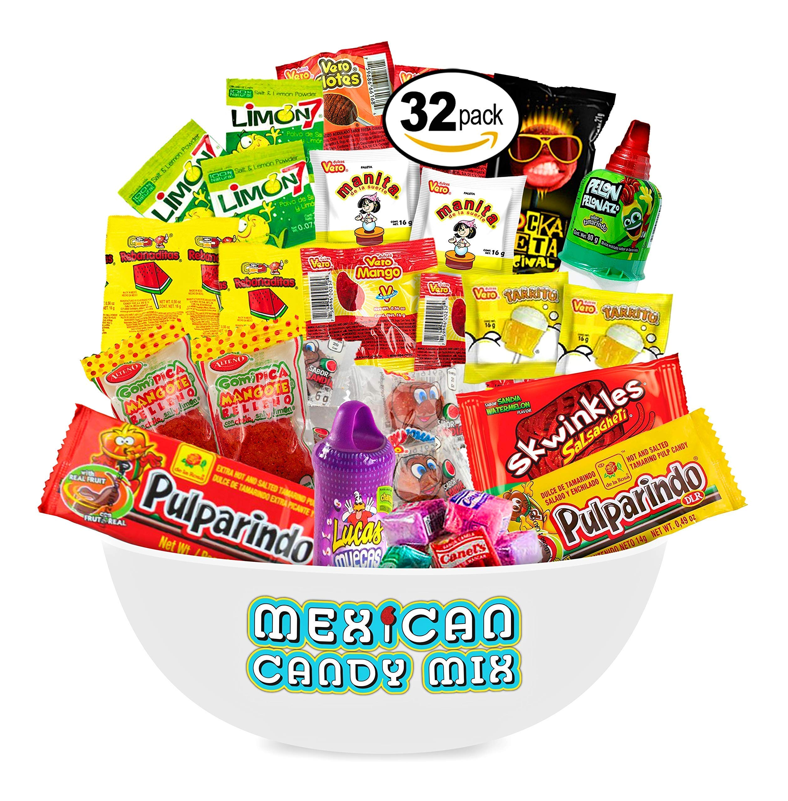 Mexican Candy Assortment Snacks (32 Count), Variety Of Spicy, Sweet, Sour Bulk Candies Dulces Mexicanos, Includes Lucas, Pelon, Vero Lollipops, Pulparindo Makes A Great Gift By MTC. by MTC
