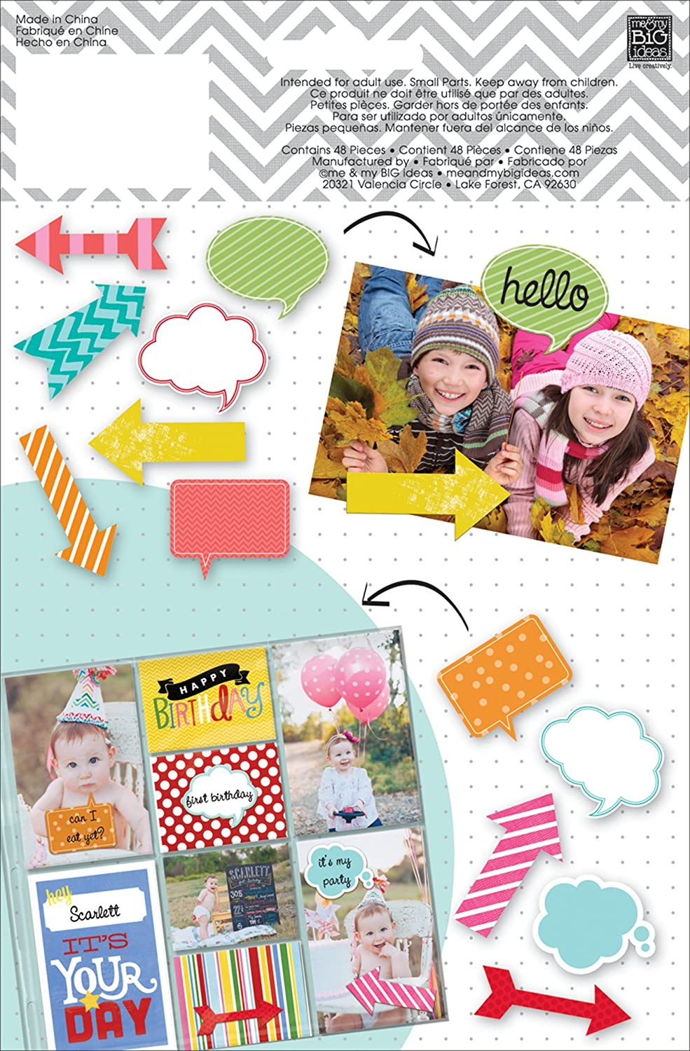 Me and My BIG Ideas Dcv-50 Mambi Shapes Bright Arrows and Speech Bubbles Scrapbooking Supplies