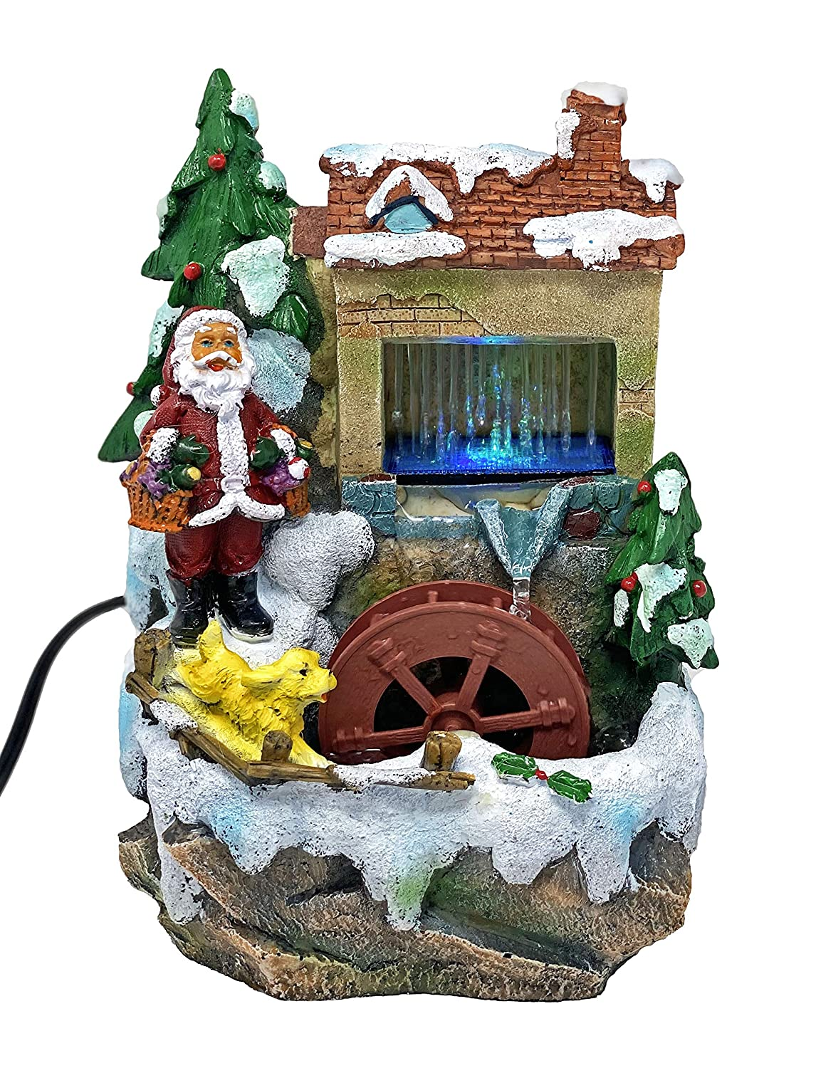 ImagiWonder Tabletop Fountain Santa with Gifts Near House