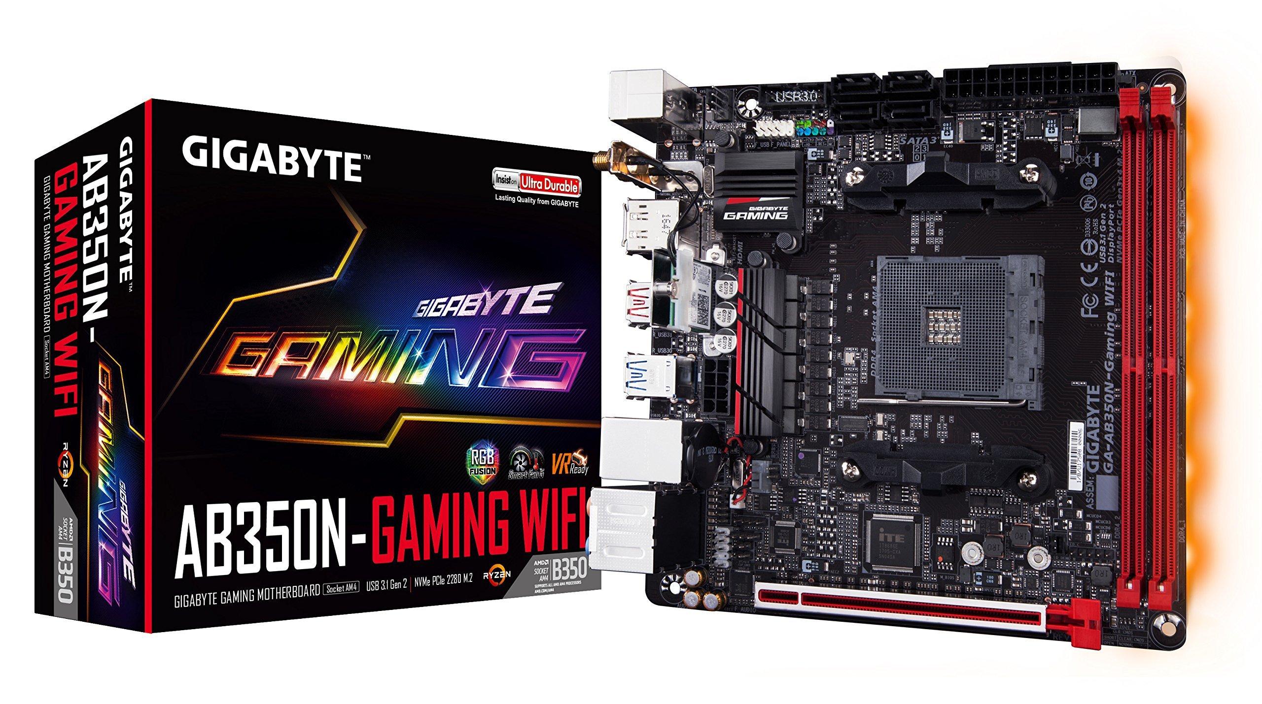 GIGABYTE GA-AB350N-Gaming WIFI (AMD/Ryzen AM4/B350/RGB Fusion/HDMI/DP/M.2/SATA/USB 3.1 Type-A/Wifi/Mini ITX/DDR4 Motherboard) (Certified Refurbished) by Gigabyte