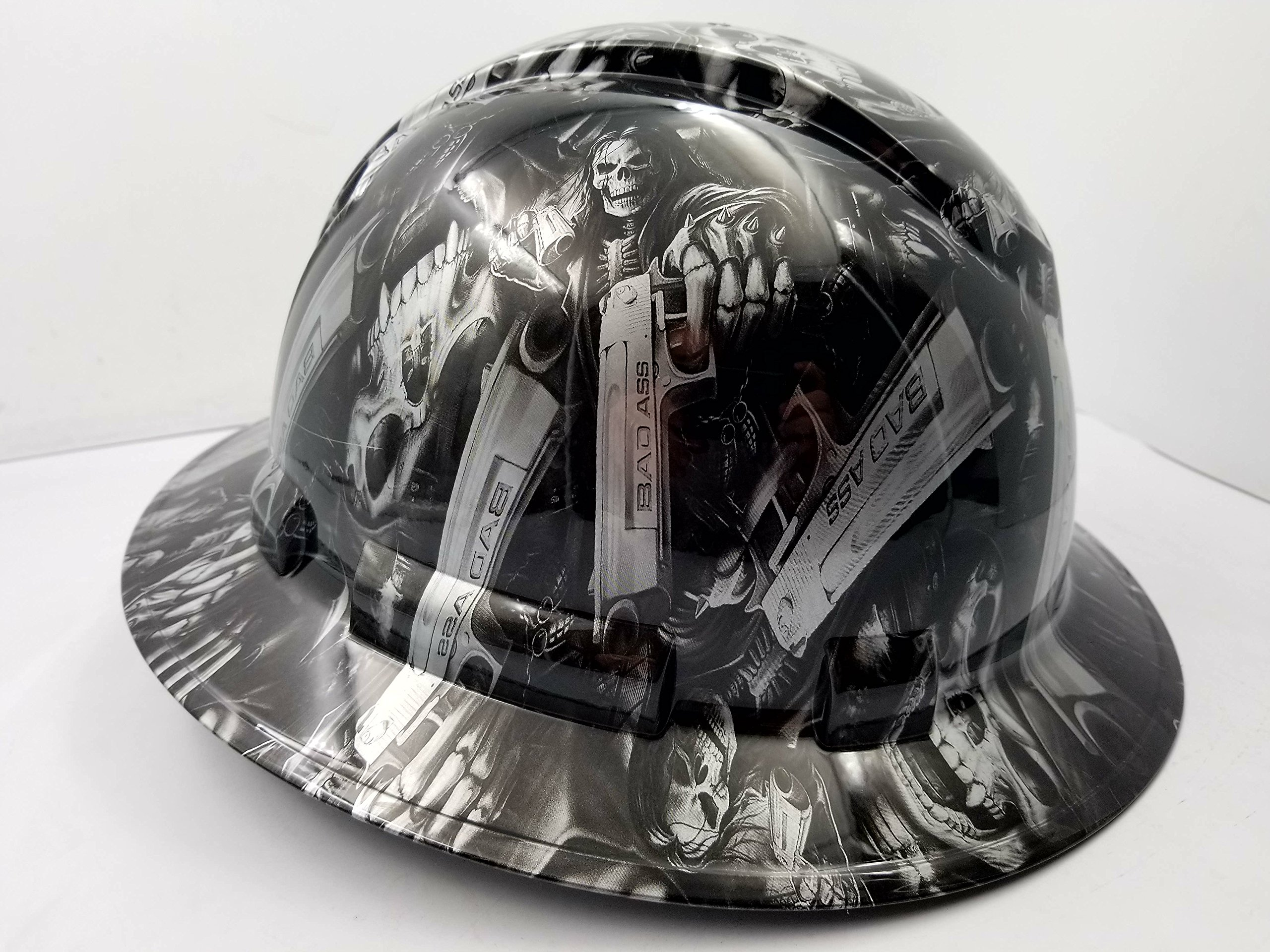 Wet Works Imaging Customized Pyramex Full Brim GRIM REAPER SKULL SHOOTER HARD HAT With Ratcheting Suspension CUSTOM LIDS CRAZY SICK CONSTRUCTION PPE by Wet Works Imaging (Image #3)