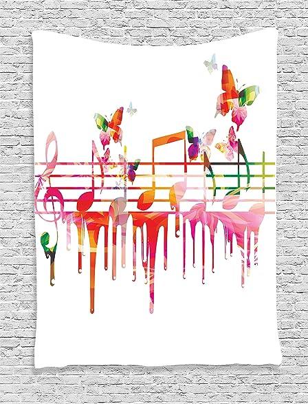 Amazon.com: Ambesonne Music Decor Collection, Colorful Artwork Music ...
