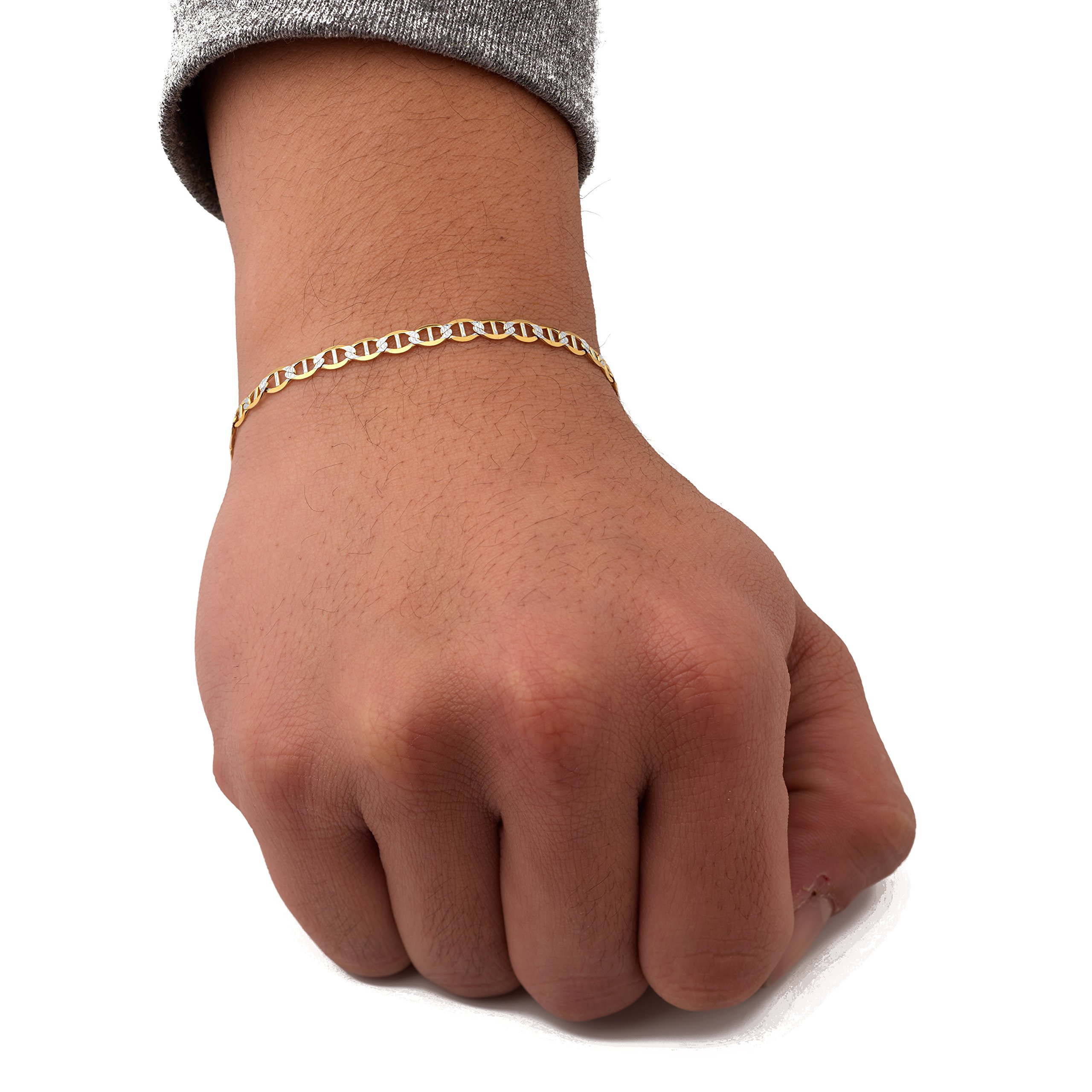 LoveBling 10K Yellow Gold 4mm 8'' Solid Pave Two-Tone Mariner Chain Bracelet with Lobster Lock
