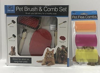 Amazon Com Pet Grooming Kit Brush Comb Set And Bonus Flea Combs