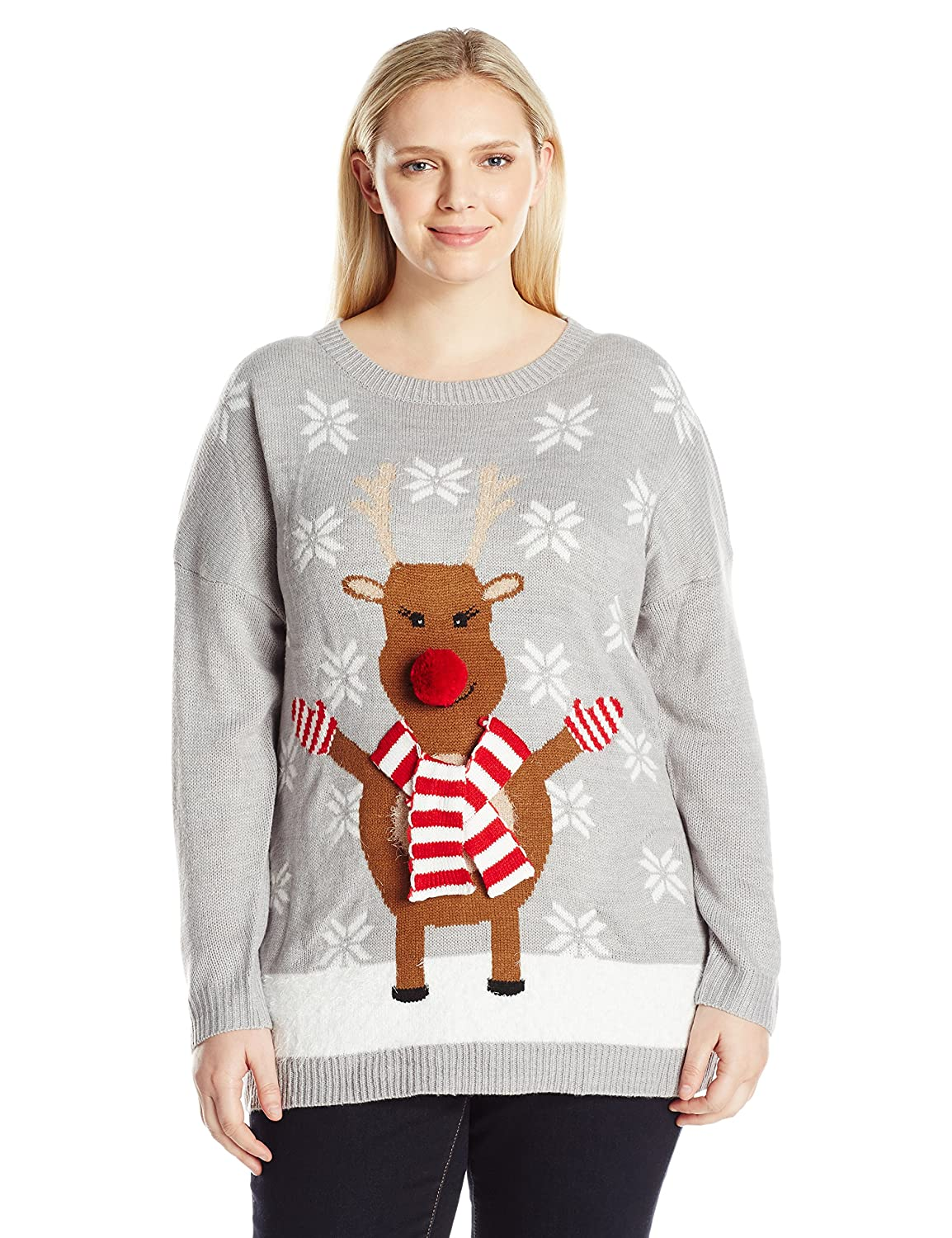 Notations Women's Plus Size Happy Rudolph Ugly Christmas Sweater with 3d Nose good