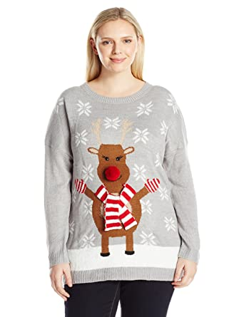 516ca8b8fec Amazon.com  Notations Women s Plus-Size Happy Rudolph Ugly Christmas Sweater  with 3D Nose  Clothing