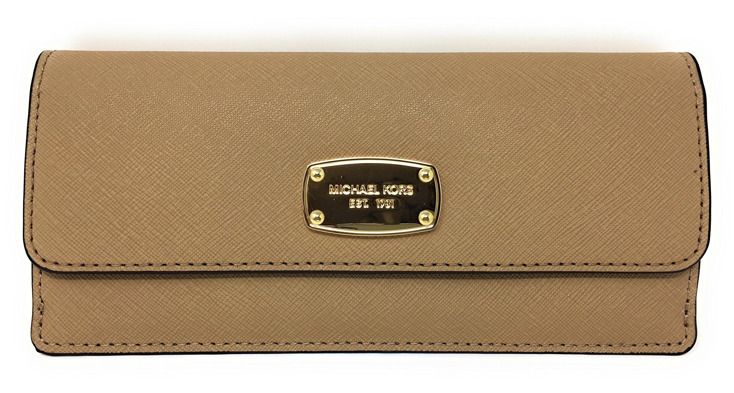 Michael Kors Jet Set Travel Flat Saffiano Leather Wallet (Dark Camel)