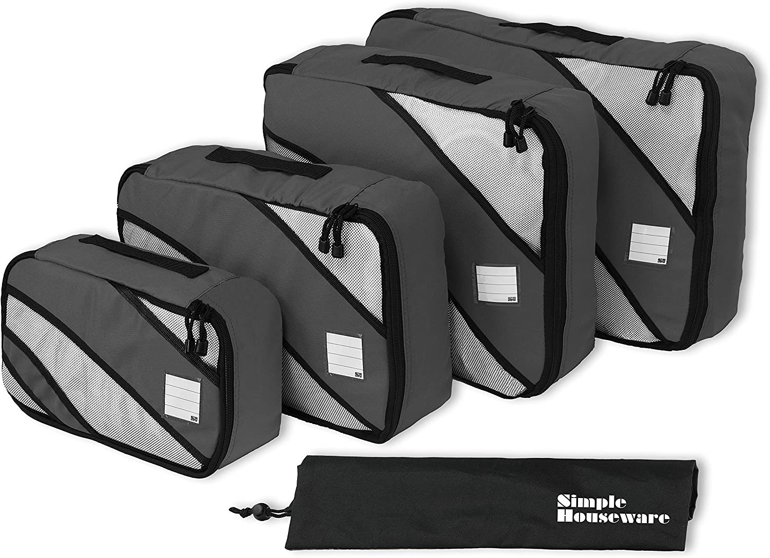 Simple Houseware 4 Set Packing Cube - Travel Organizers with Laundry Bag