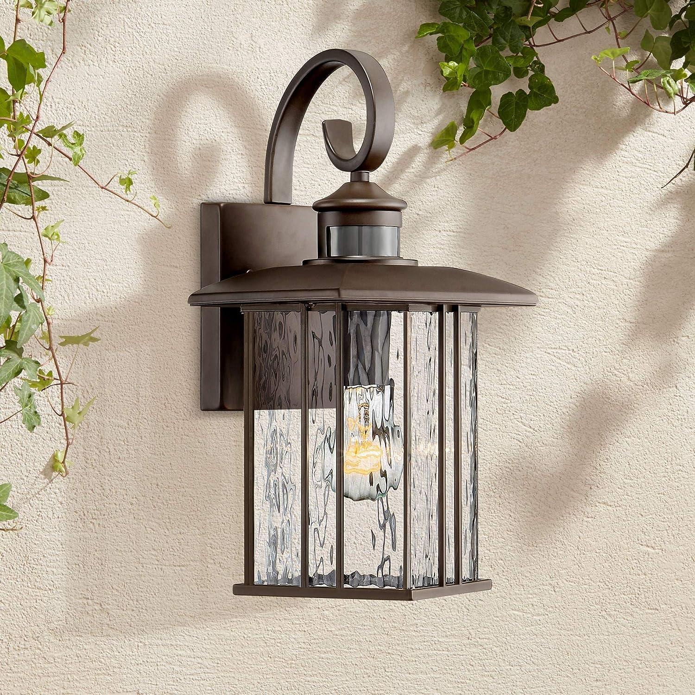 "Deaver Modern Outdoor Wall Fixture Bronze 15 1/4"" Clear Water Glass Lantern Dusk to Dawn Motion Sensor for Exterior Porch"
