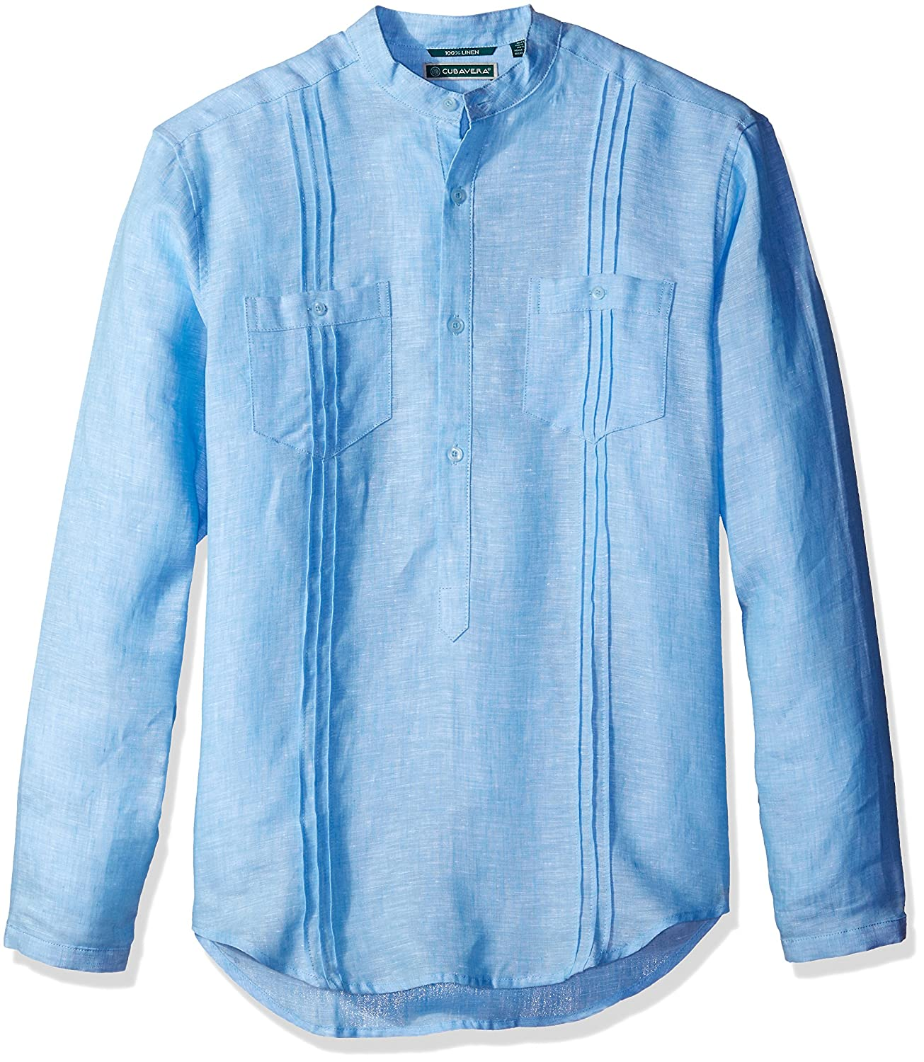 Cubavera Mens Long Sleeve 100/% Linen Tunic-Style Shirt Pockets Pleats Cubavera Men/'s Sportswear CUWS50B6