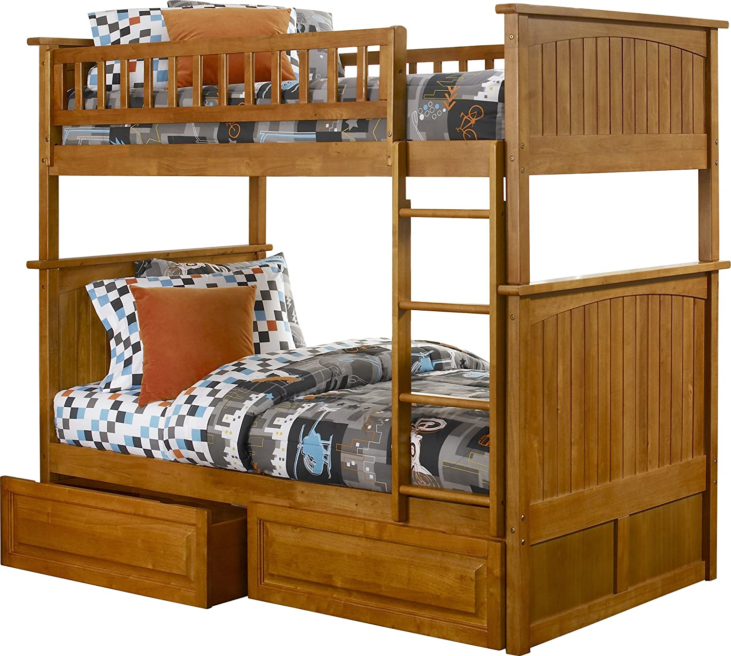 Nantucket bedroom furniture - Amazon Com Nantucket Bunk Bed With 2 Raised Panel Bed Drawers Twin Over Twin White Kitchen Dining
