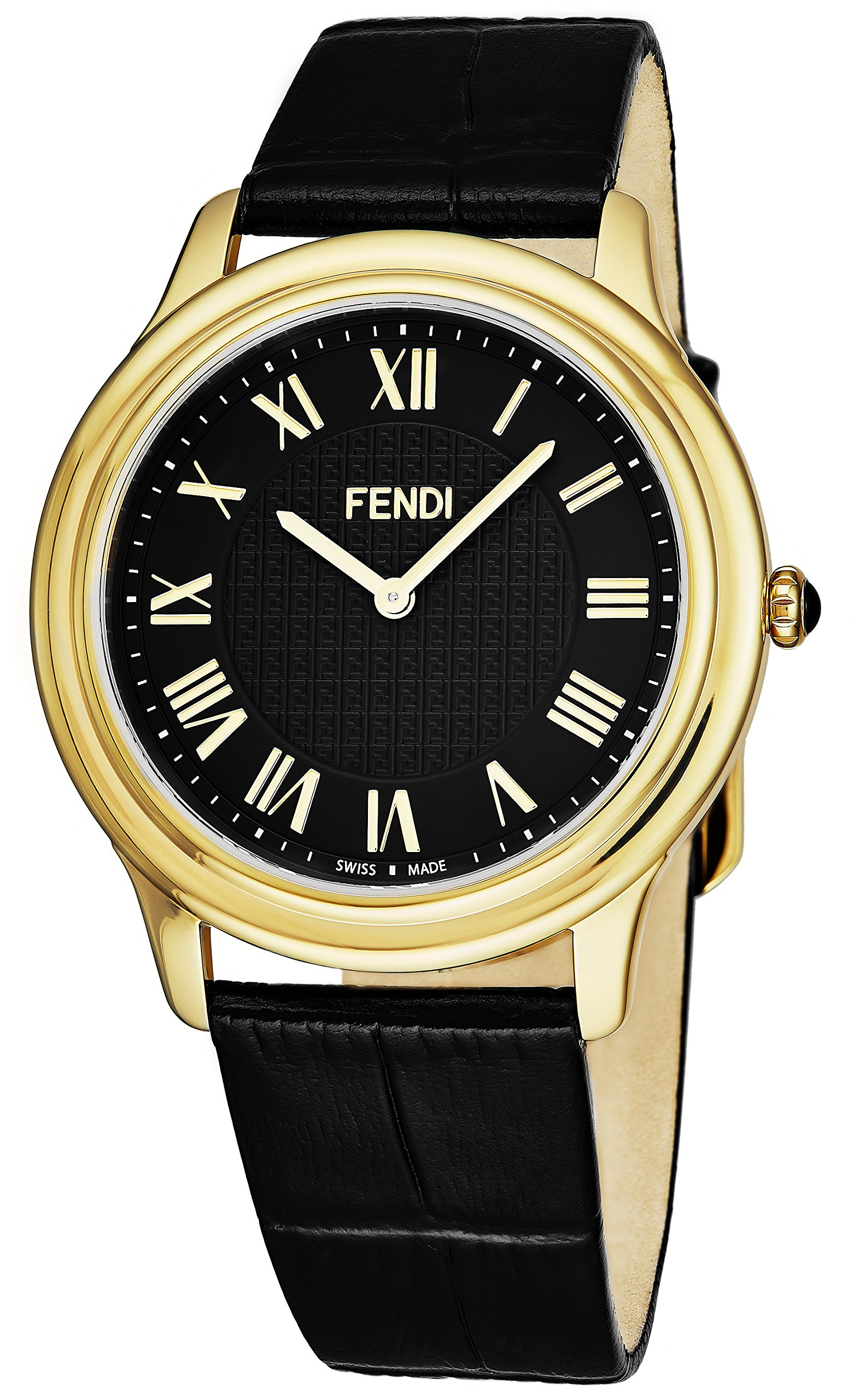 Fendi Classico Mens Classic Thin Yellow Plated Gold Watch - Black Face Analog Swiss Quartz Black Leather Band Dress Watch For Men F250411011