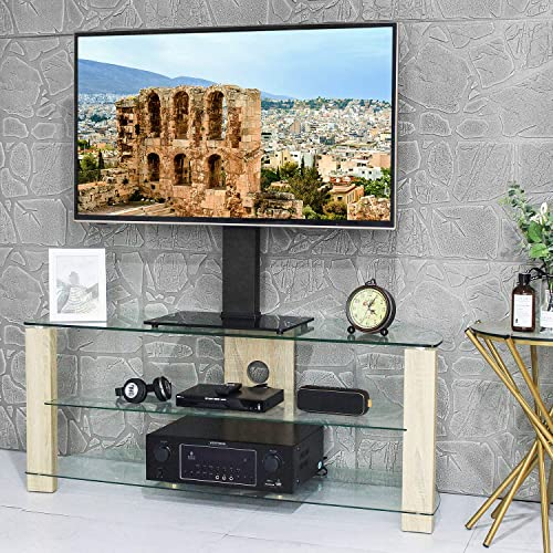 TAVR Universal Table Top TV Stand Base with Swivel Mount Bracket and 6 Level Height Adjustable for 37 to 65 inch Plasma LCD LED Flat or Curved Screen TVs,VESA Patterns up to 400mm x 400mm