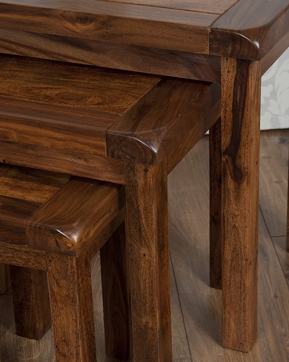 Classically Modern Valencia Solid Rosewood Sheesham Nest Tables