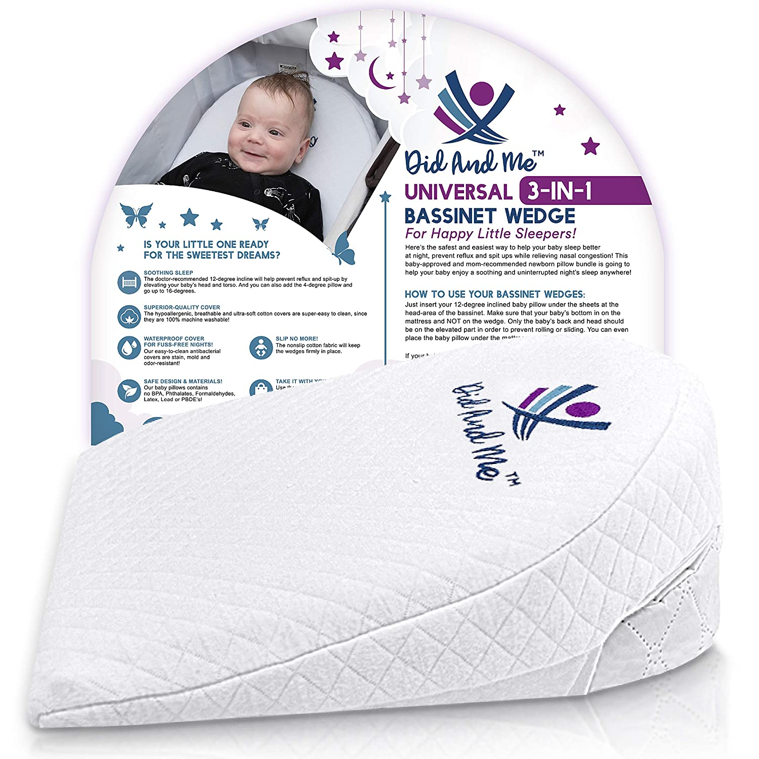 Bassinet Wedge Pillow for Baby - Universal - 3 Elevation Options for Better Sleep | Aids in Relieving Reflux | Nasal Congestion | Feeding - Happy Baby and Happy Parents - Cotton Fabric w/Carry Case  Sleep Pillows for Babies: Tips on choosing a pillow for your baby 91fiWaPC72L