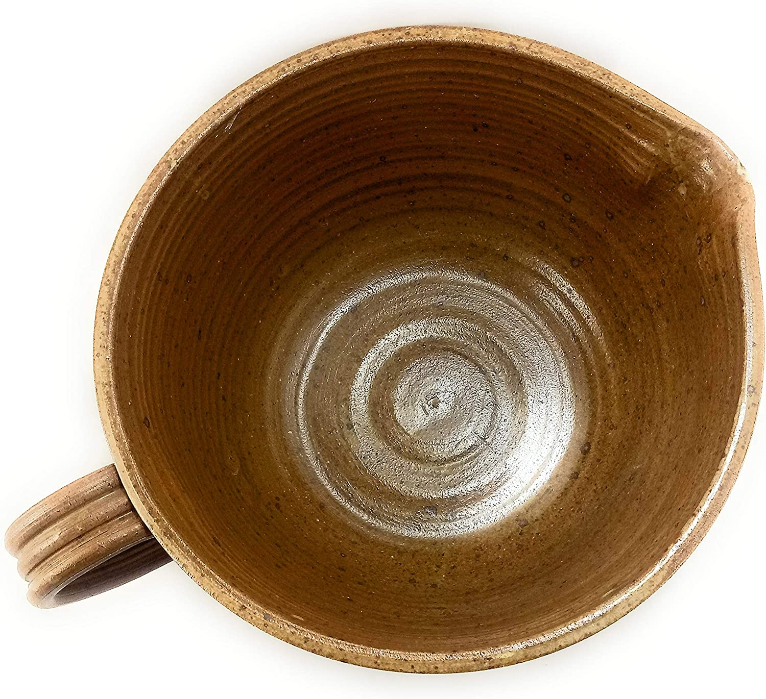 Large Tan Pottery Bowl with Loop Handle, Hand Made Clay, Microwave, Oven and Dishwasher Safe, Ceramic Batter Mixing Bowl with Spout for Easy Pouring - Approx Dim 8.5 Inches Diameter x 4-5 Inches Tall