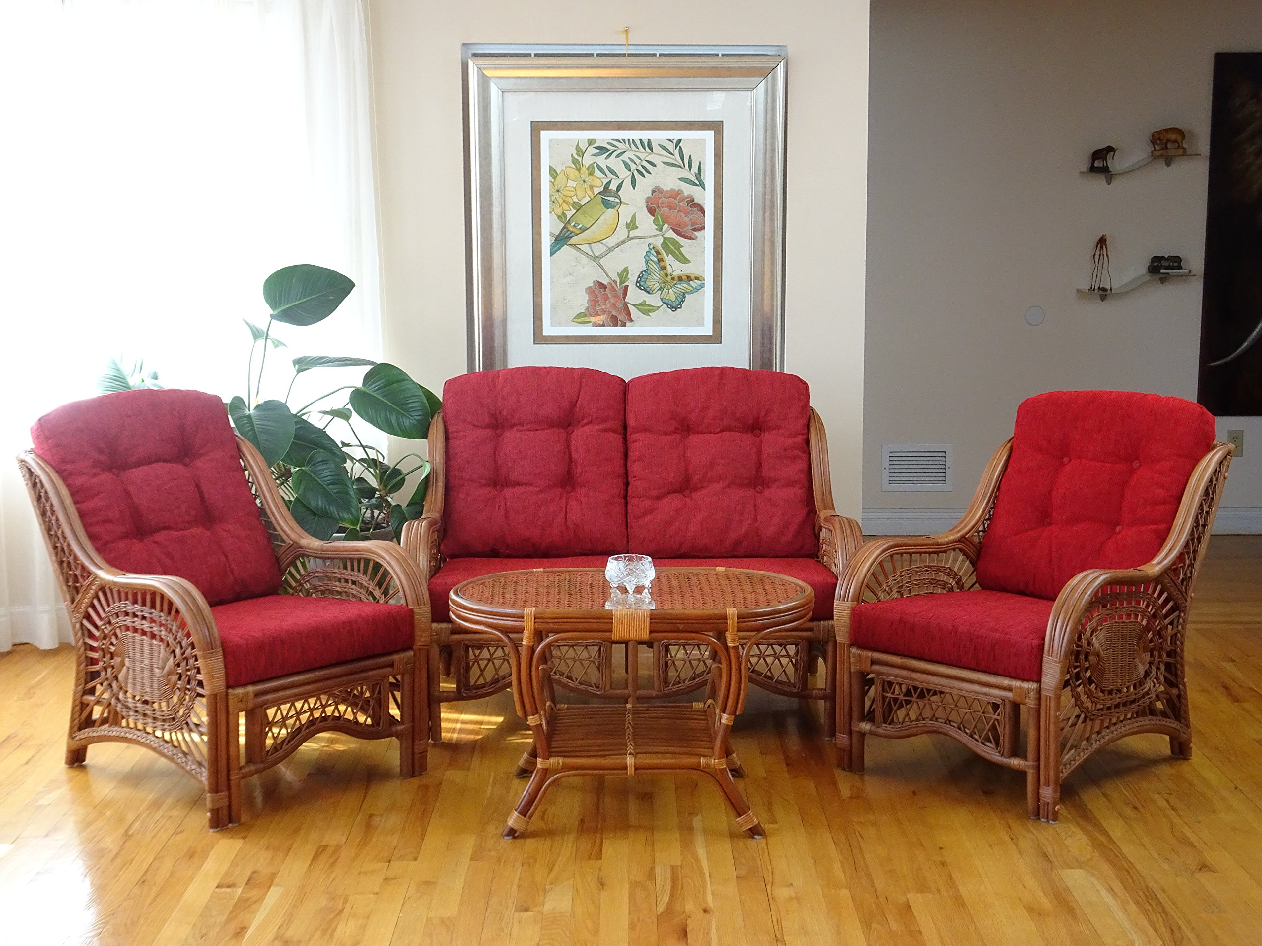 Malibu Lounge Loveseat Sofa Natural Rattan Wicker Handmade Design with Red Cushions, Colonial - ~Natural Rattan (Wicker) ~Color: Colonial ~Very easy to assemble - sofas-couches, living-room-furniture, living-room - 91fibR8e58L -