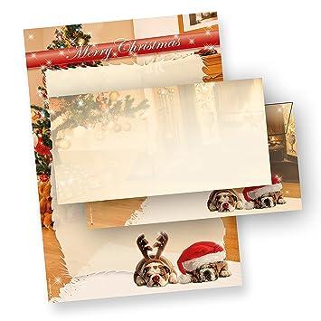 Papel Para Cartas Papel De Carta Y Sobres A Juego Con Dos De Navidad