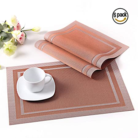 LOVECASA Placemats and Coaster Set Of 6 45CM X30CM Bamboo Placemats and Coaster Non-Slip Green Washable Table Mats Set of 6