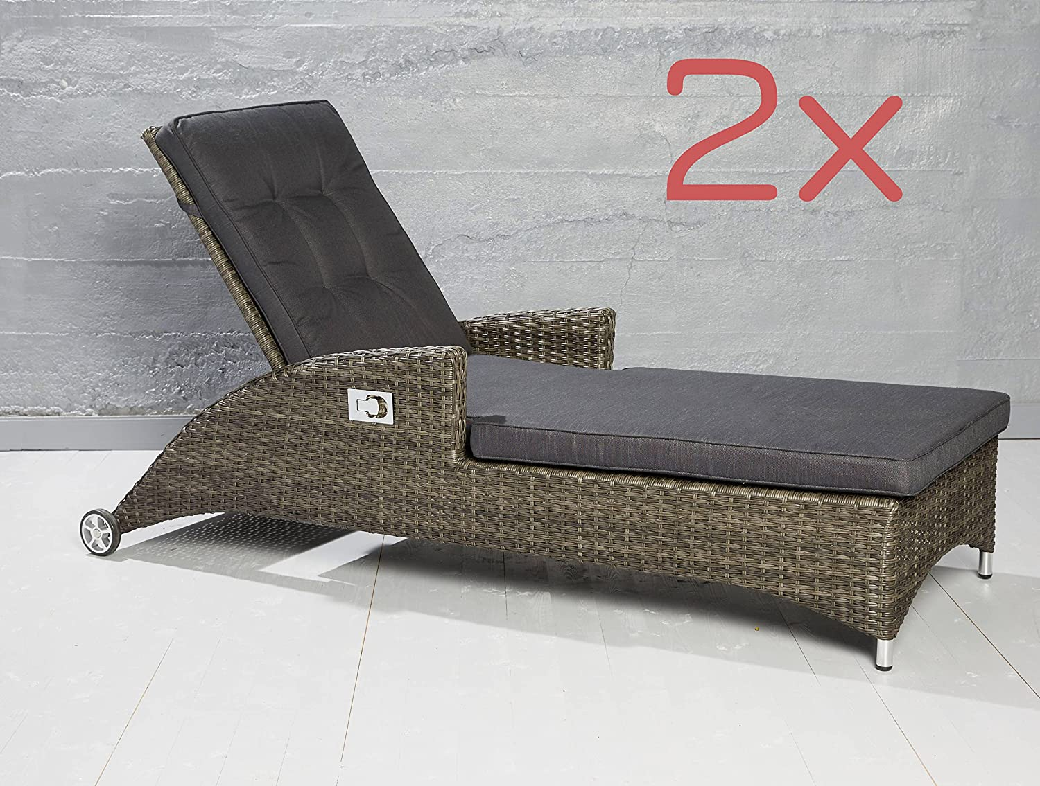 2er set poly rattan sonnenliege gartenliege relaxliege gartenm bel verstellbar online bestellen. Black Bedroom Furniture Sets. Home Design Ideas