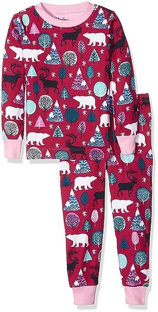 Hatley PJ (AOP) -Nordic Forest, Pijama para Niños, Rosa, 5