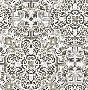 NuWallpaper NUS3502 Black Florentine Tile Wallpaper, Neutral