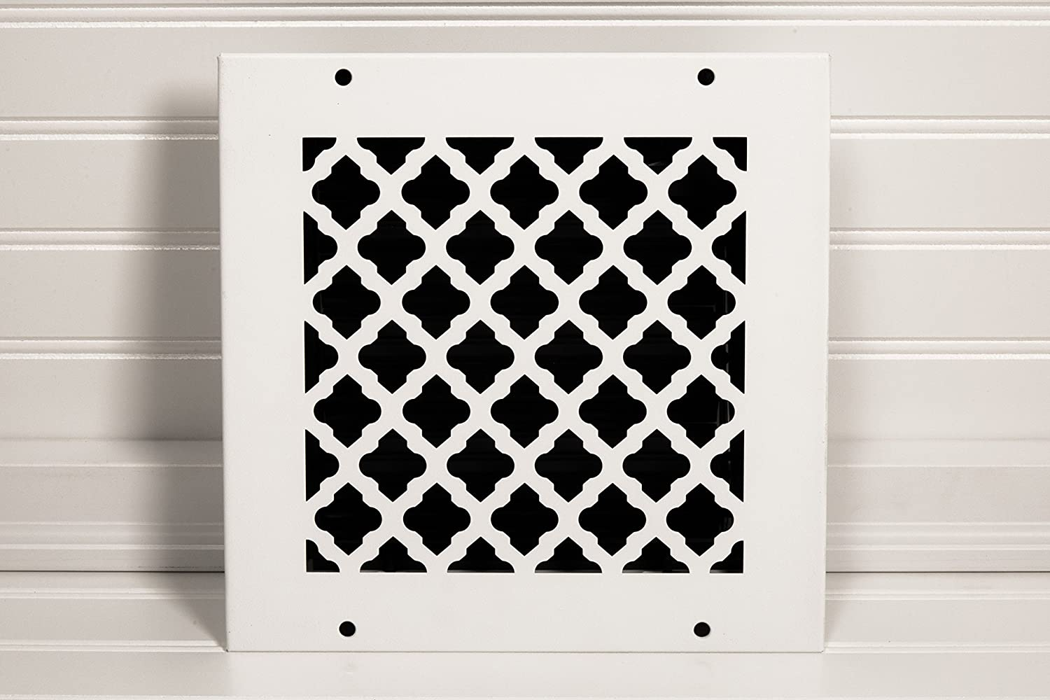 White with mounting Screws SteelCrest BTU8X8RWHH Bronze Series Designer Wall//Ceiling Vent Cover