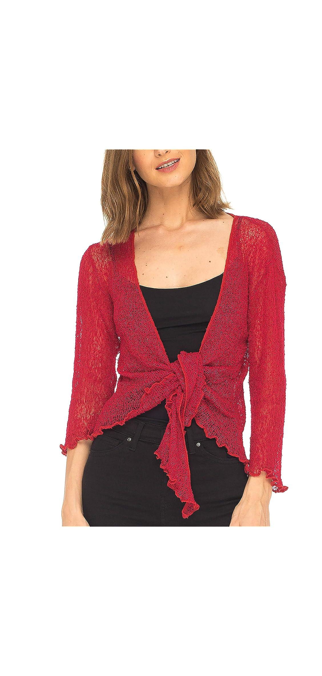 Womens Sheer Shrug Tie Top Open Front Cardigan Knit