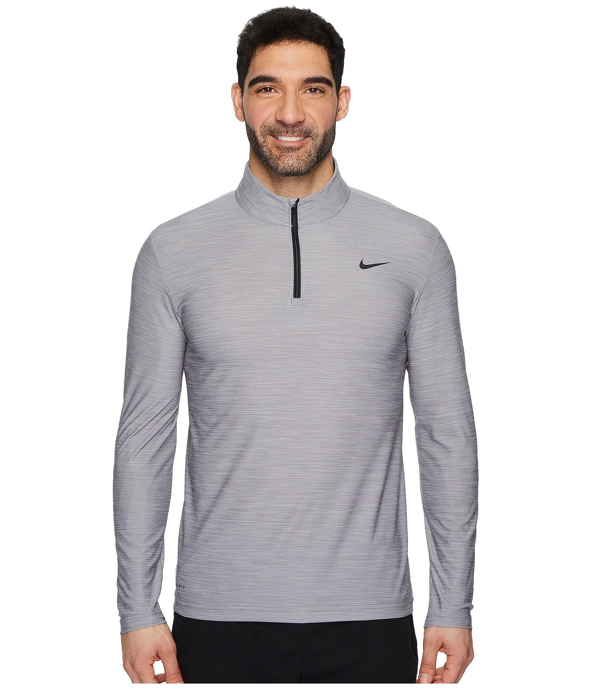 Nike Men's Breathe Dry Quarter Zip Long Sleeve Shirt (Atmosphere Grey/Gunsmoke-Black, Small) by Nike