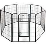 Pet Trex 32-40 Inch Black Playpen Heavy Duty Playpen for Indoor and Outdoor Use, Black