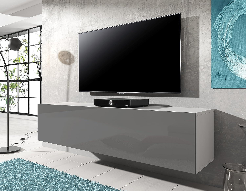 Meuble Tv Suspendu Rocco 140 Cm Corps Blanc Mat Avant Gris  # Meuble Tv Blanc Suspendu