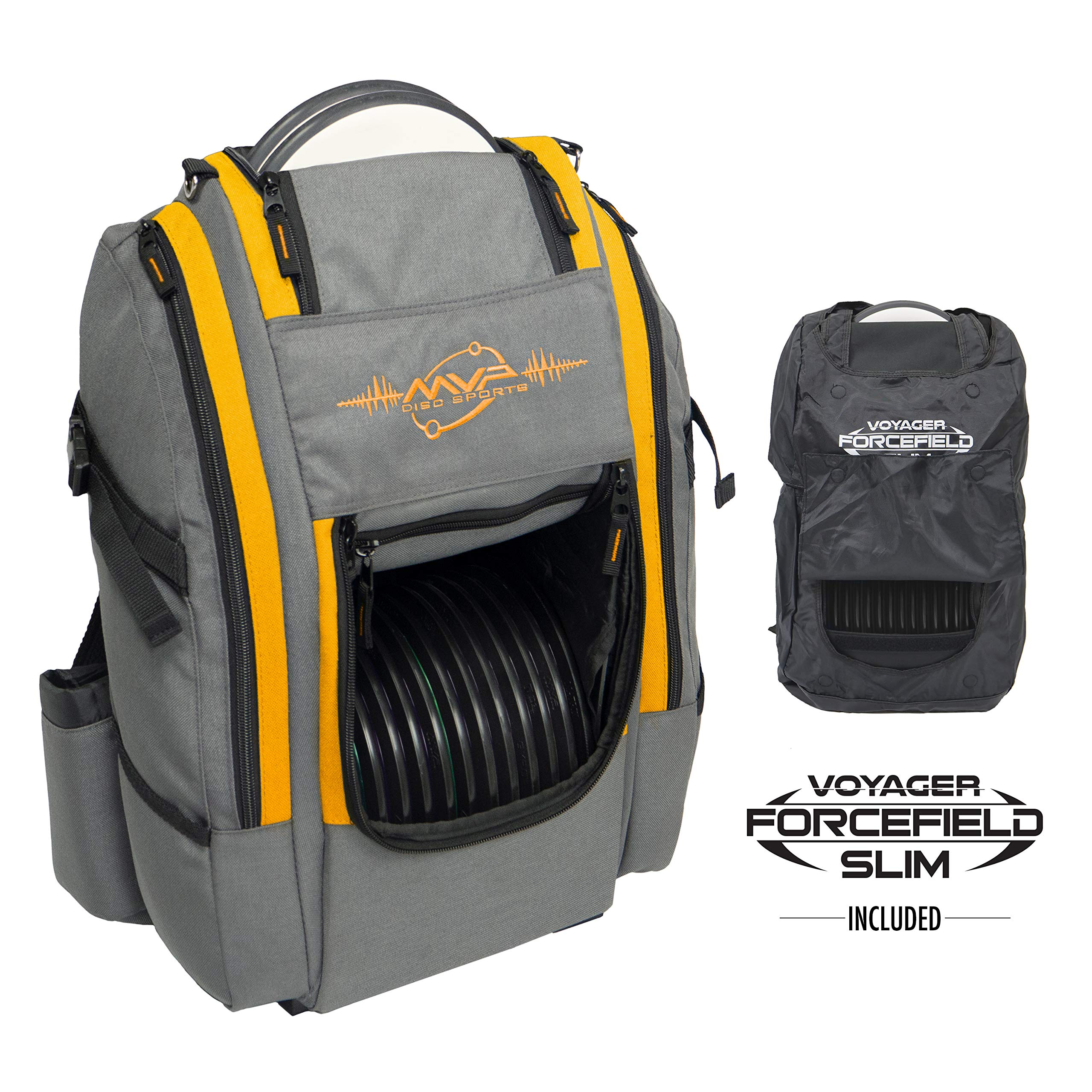 MVP Disc Sports Voyager Slim Bag (Gray/Orange) + Forcefield by MVP Disc Sports