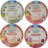 Torie & Howard Organic Hard Candy 4 Flavor Variety Bundle: (1) Blood Orange & Honey, (1) Pomegranate & Nectarine, (1) Pink Grapefruit & Tupelo Honey, and (1) D'anjou Pear & Cinnamon, 2 Oz. Ea (4 Tins Total)
