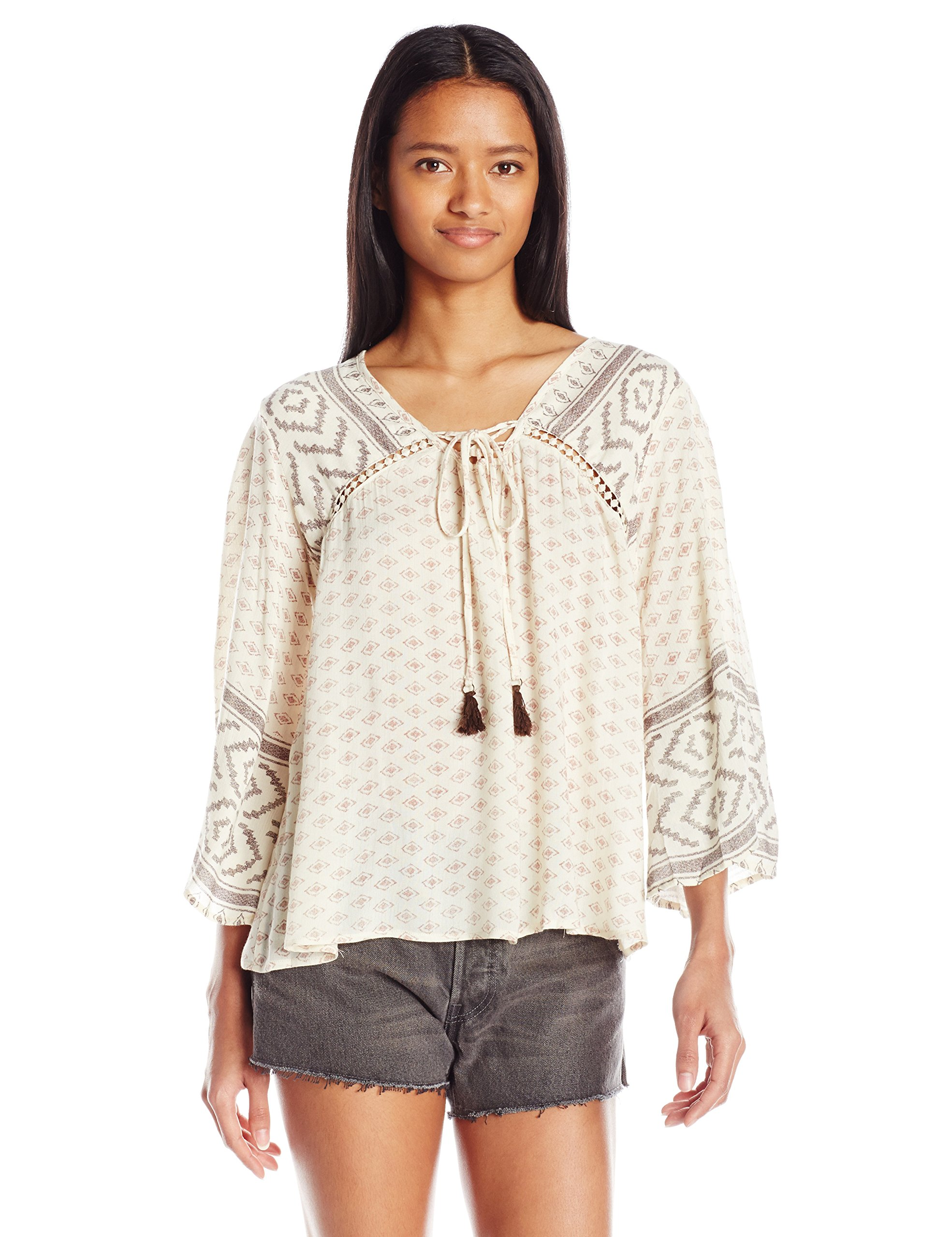 Angie Women's Bell Sleeve Top, Ivory, Small