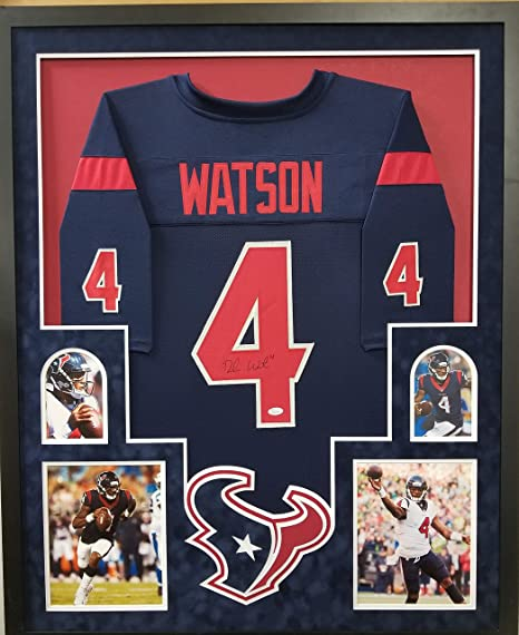 7ef0f61134d Deshaun Watson Houston Texans Autograph Signed Custom Framed Jersey Blue  Suede Mat JSA Witnessed Certified