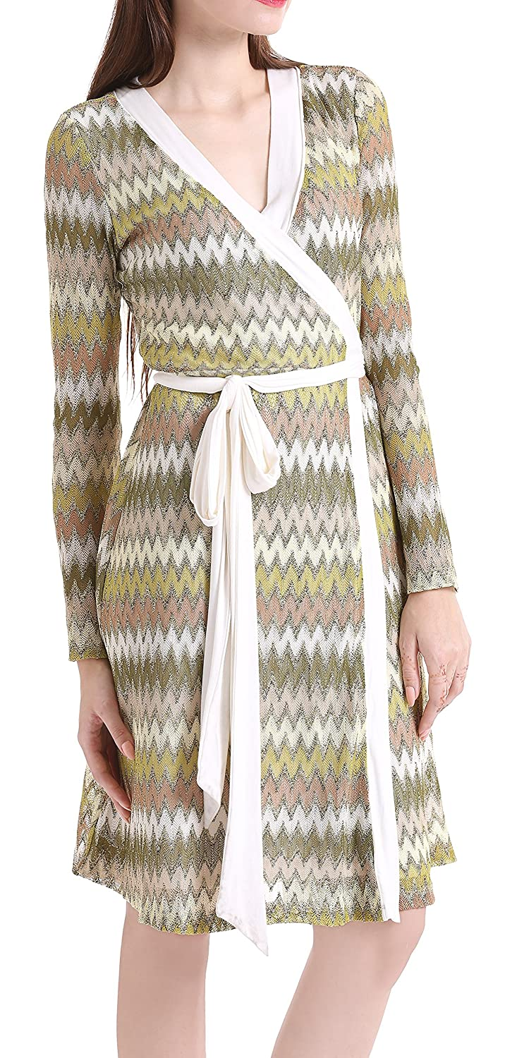 4ded7150030 Amazon.com  Ms Purple Women s Long Sleeve Zig Zag Wrap Dress  Clothing