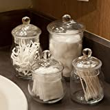 Set of 4 Small Decorative Clear Glass Apothecary Jars, Wedding Centerpiece Storage Canisters with Lids